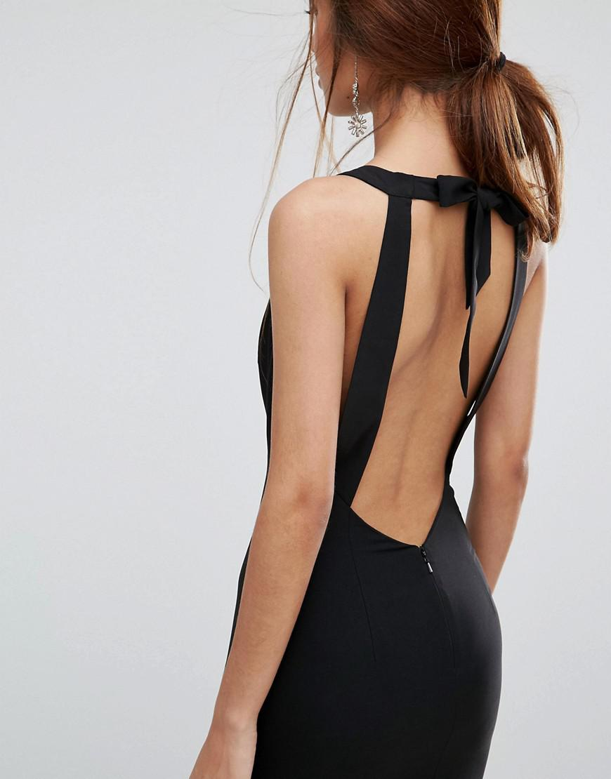 Jarlo Synthetic Fishtail Maxi Dress With Open Bow Back in Black