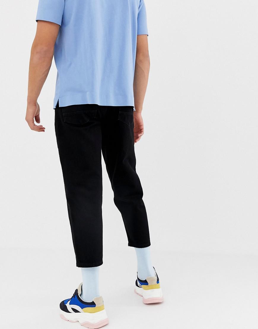 ASOS Smaltoelopende Cropped Denim Jeans In 14 Oz Zwart in het Zwart voor heren