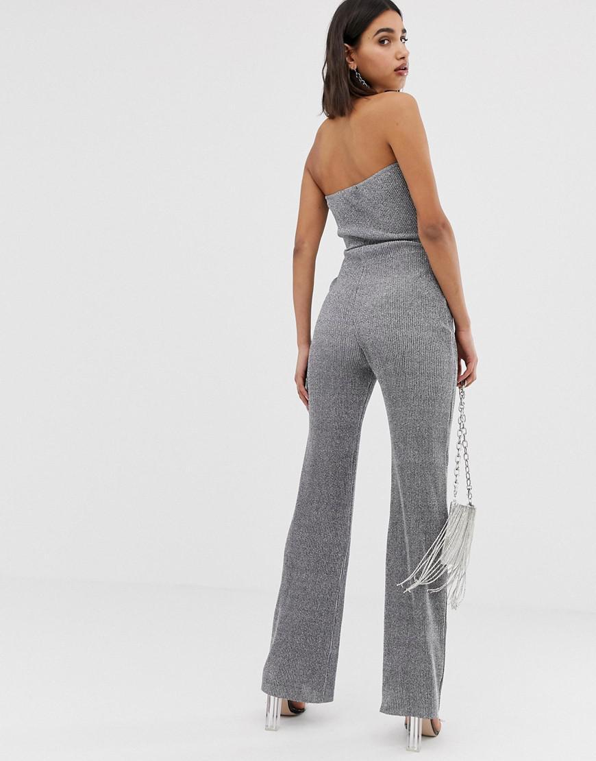 5e3914e8bd77 Lyst - PrettyLittleThing Glitter Bandeau Wide Leg Jumpsuit With Tie Waist  In Silver in Metallic