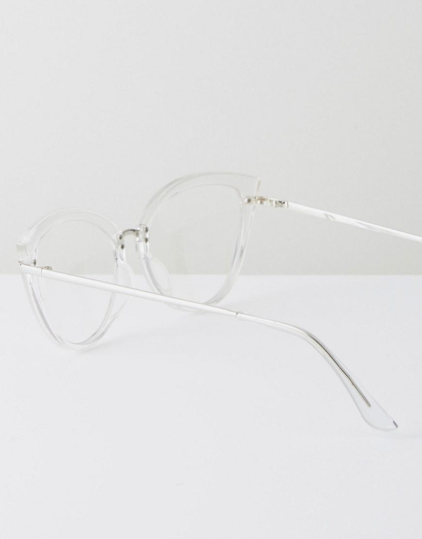 54b8a6f22a Lyst - ASOS Geeky Clear Lens Clear Frame Cat Eye Glasses