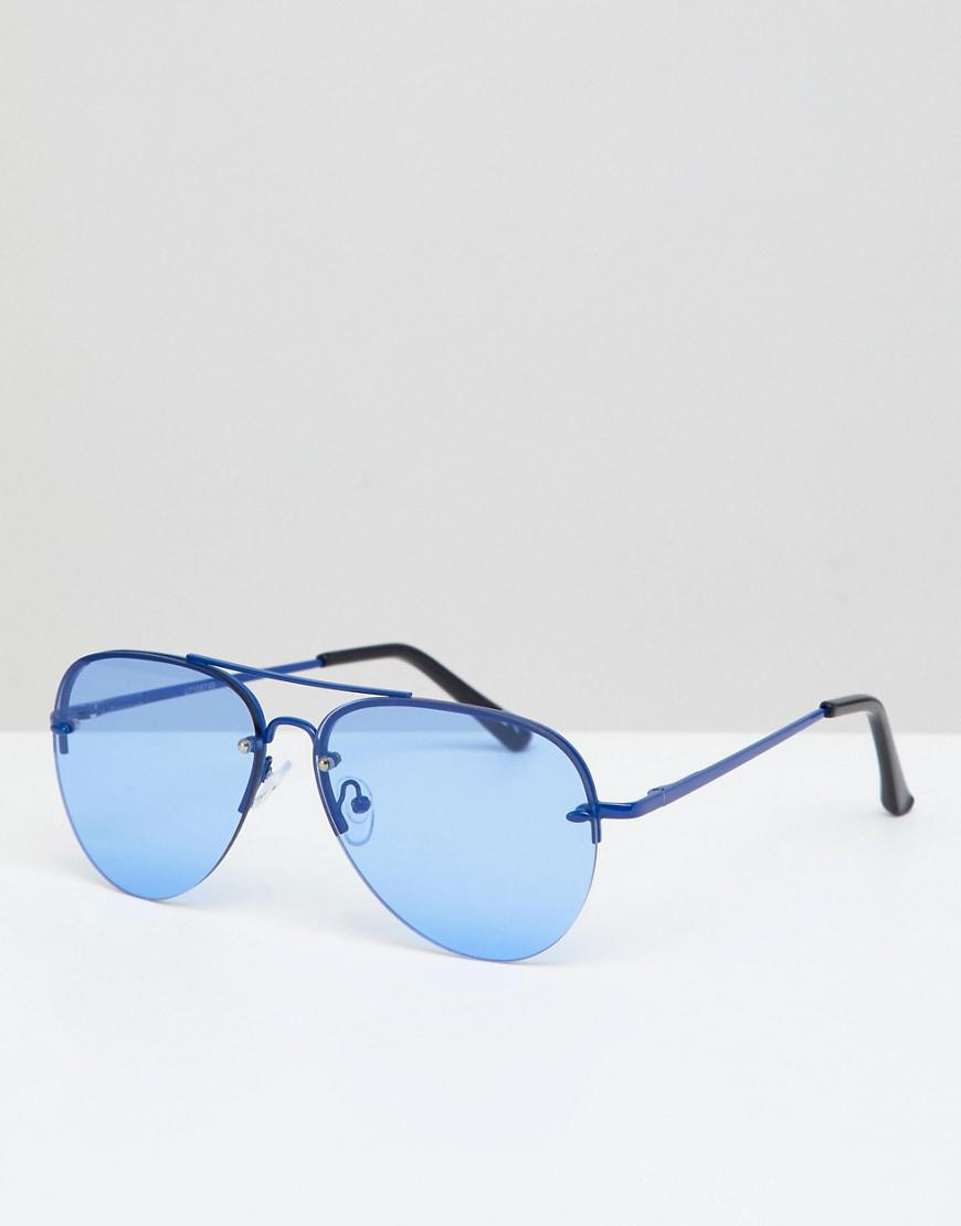 b4ebd03097b Lyst - ASOS Aviator Sunglasses In Blue Metal With Blue Lens in Blue ...