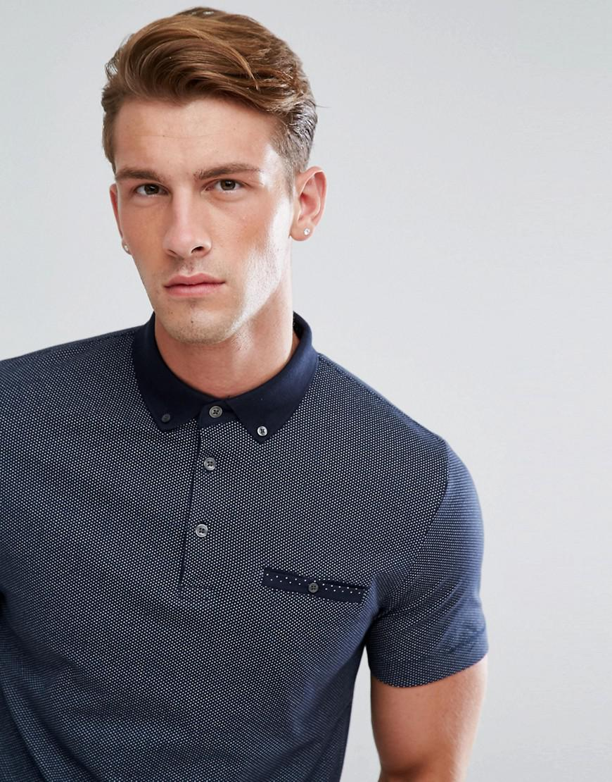 French Connection Cotton Polo Shirt With Ditsy Print in Navy (Blue) for Men
