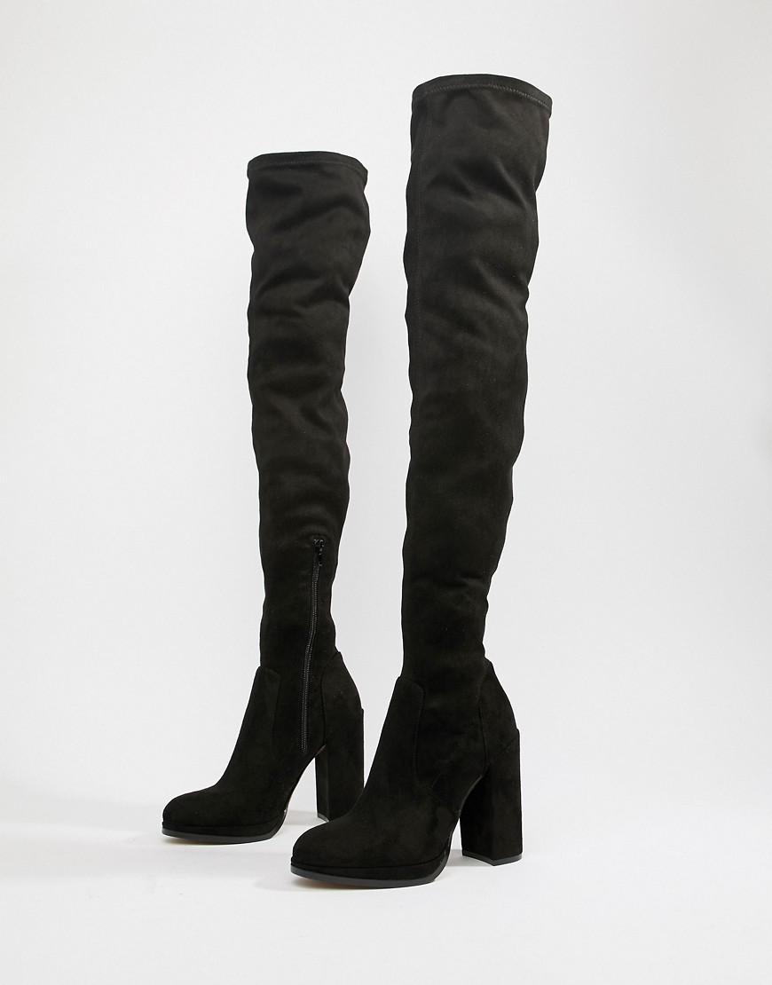 14c4b280da8 ASOS Wide Fit Extra Wide Leg Kassidy Thigh High Boots in Black - Lyst