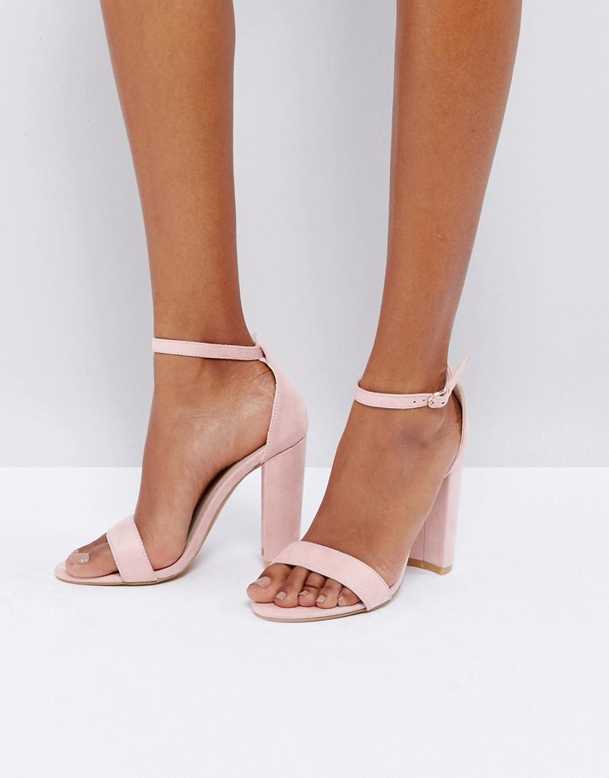 84625edcf Glamorous Blush Barely There Block Heeled Sandals in Pink - Lyst