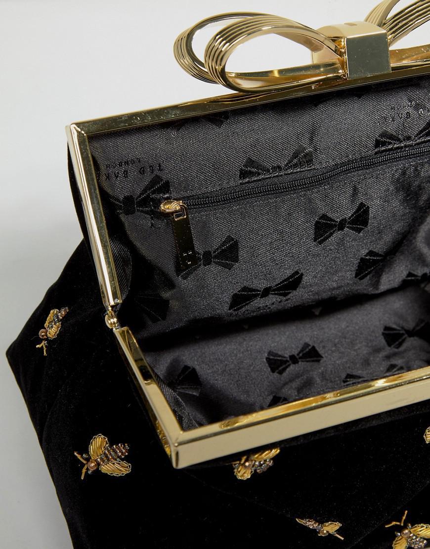 ccc8d0c860715 Lyst - Ted Baker Bee Embellished Evening Bag in Black
