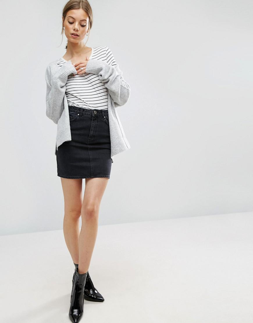 a993cc021 ASOS Denim Original High Waisted Skirt In Washed Black in Black - Lyst