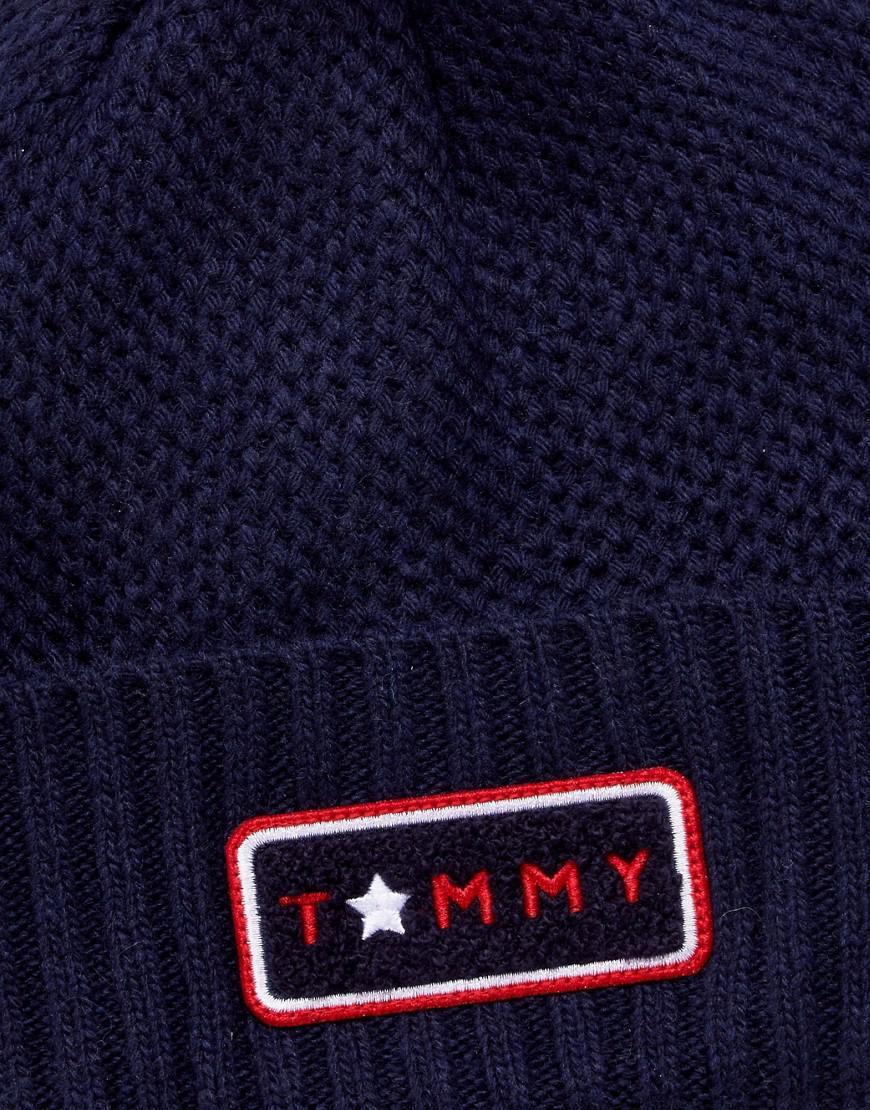77b3e0895 Tommy Hilfiger Blue Multi Fur Pom Beanie