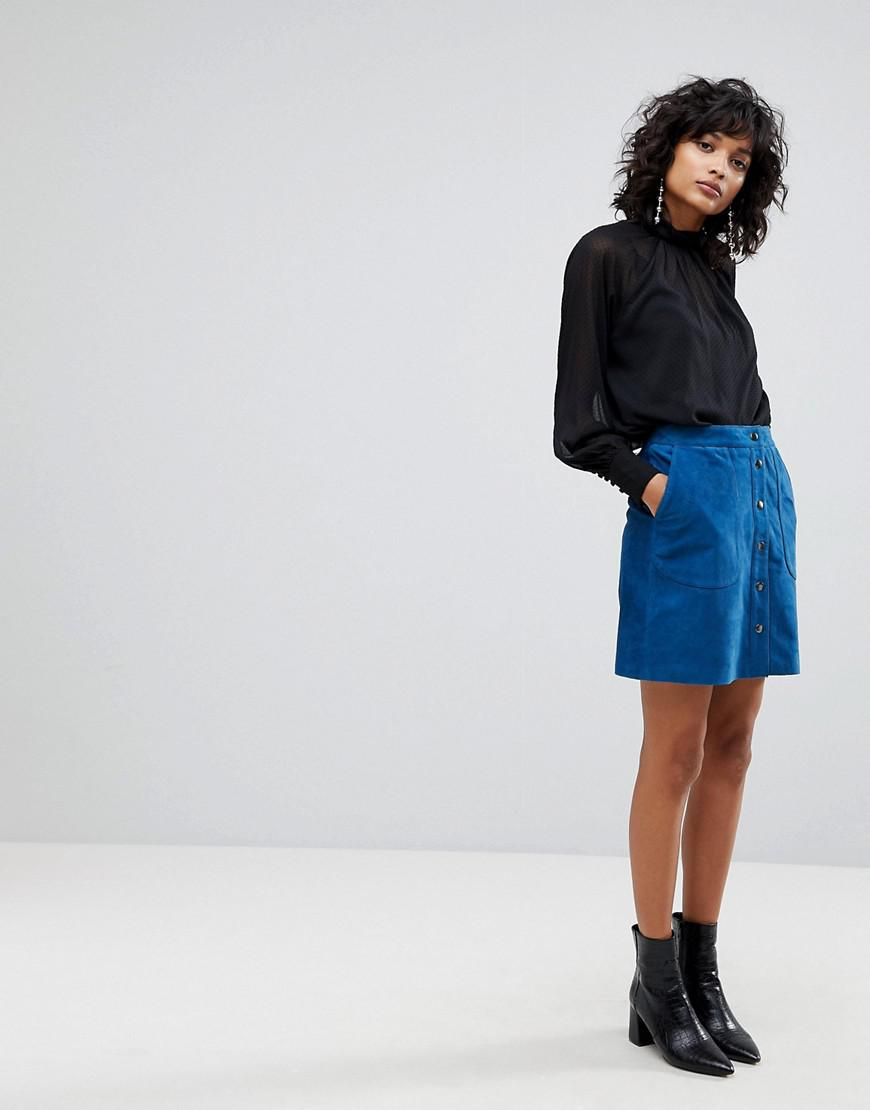 044055f43 Y.A.S Suede Mini Skirt With Button Front in Blue - Lyst