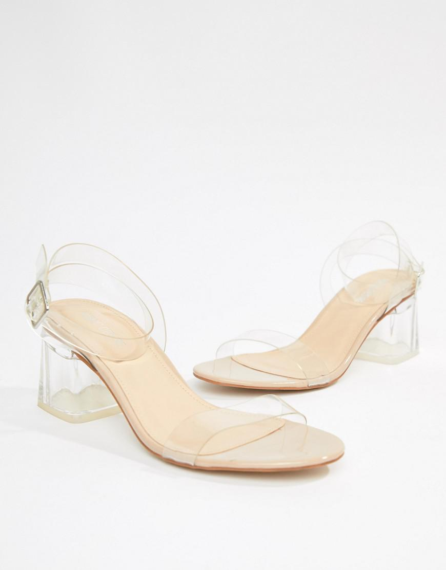 947d322d5b09 Lyst - Public Desire Afternoon Mid Clear Heeled Sandals in Natural