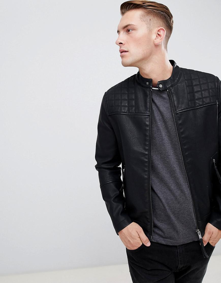 New Look Cotton Biker Jacket In Black For Men Lyst