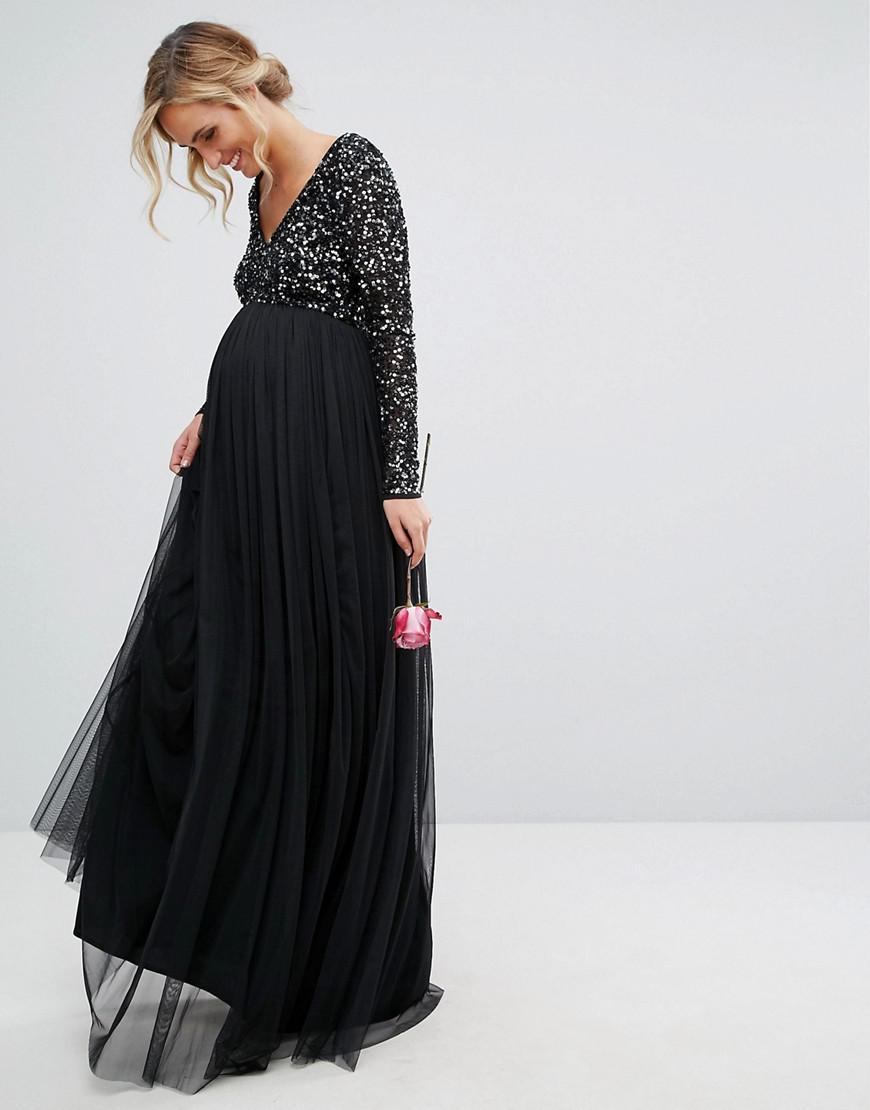 b0cad7d94dde Maya Maternity Plunge Front Long Sleeve Maxi Dress In Tonal Delicate ...