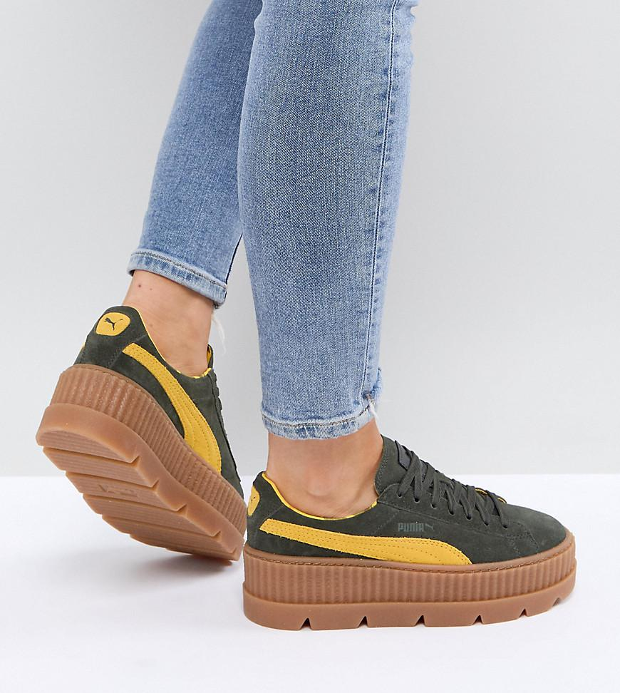 new product b7fca 3c652 PUMA Green X Fenty Suede Creepers In Khaki