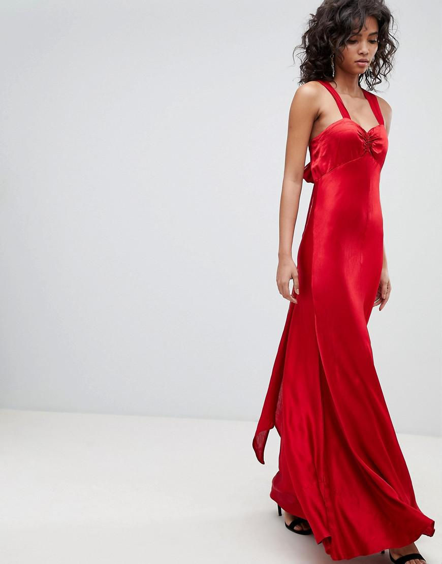 Ghost V Neck Maxi Dress With Bow Back in Red - Lyst 7f4731cc0
