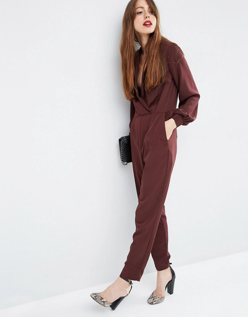44c9e0575e Lyst - ASOS Long Sleeve Jumpsuit With Collar And Wrap Front in Red