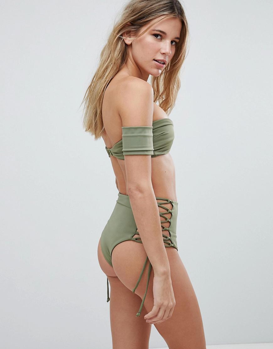 d3bdb657ace7f SKYE & staghorn Skye & Staghorn High Waisted Stripe Lace Up Bikini Bottom  in Green - Lyst