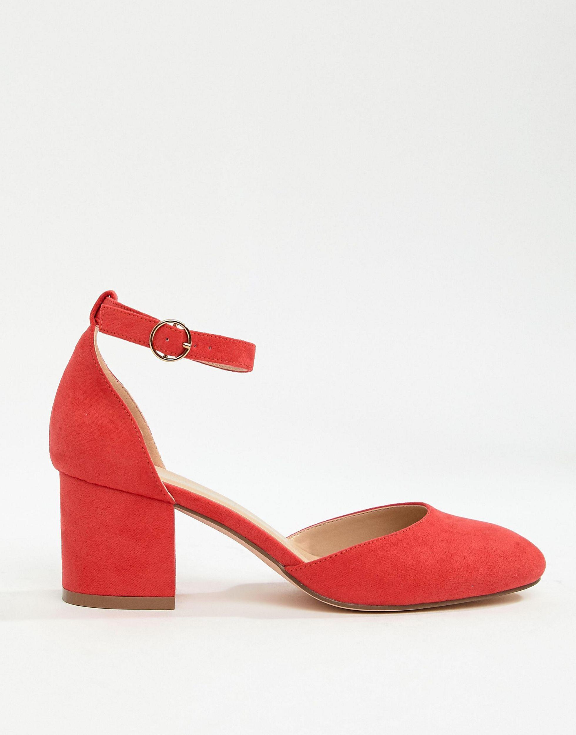 red wide fit block heels