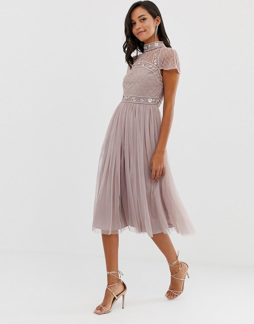 74e4fd9c42 ASOS. Women's Midi Dress With Embellished Crop Top And Tulle Skirt