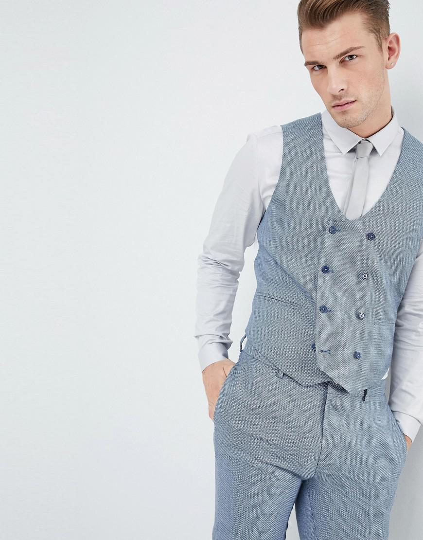 Lyst - Asos Wedding Skinny Suit Vest In Airforce Blue Micro Texture ...