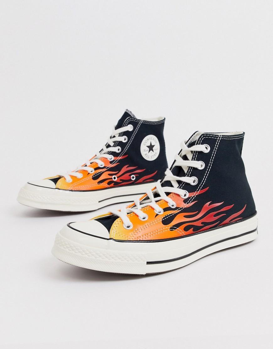 chaussures converse flammes