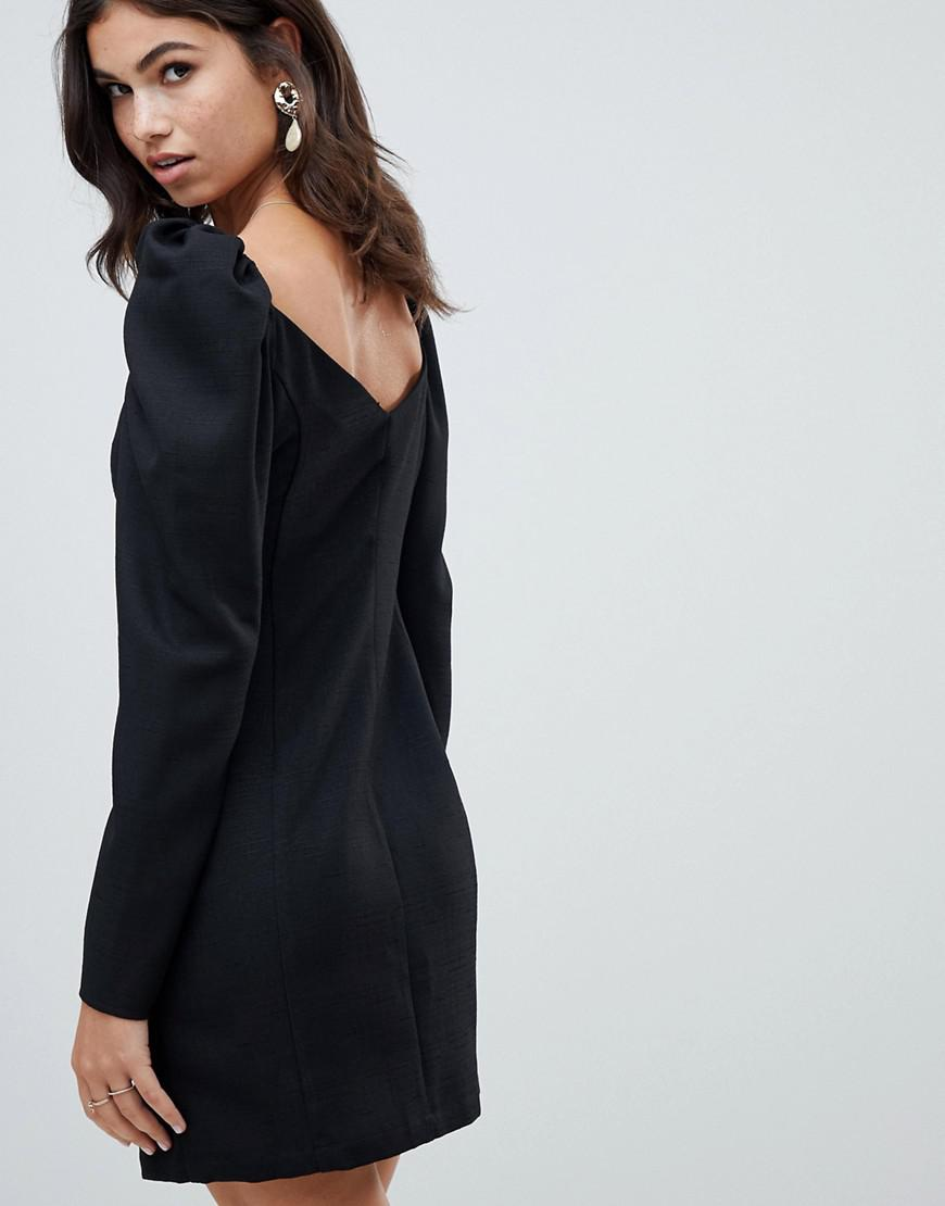 4b6744f113b5 Lyst - ASOS Off Shoulder Button Through Mini Dress With Long Sleeves in  Black