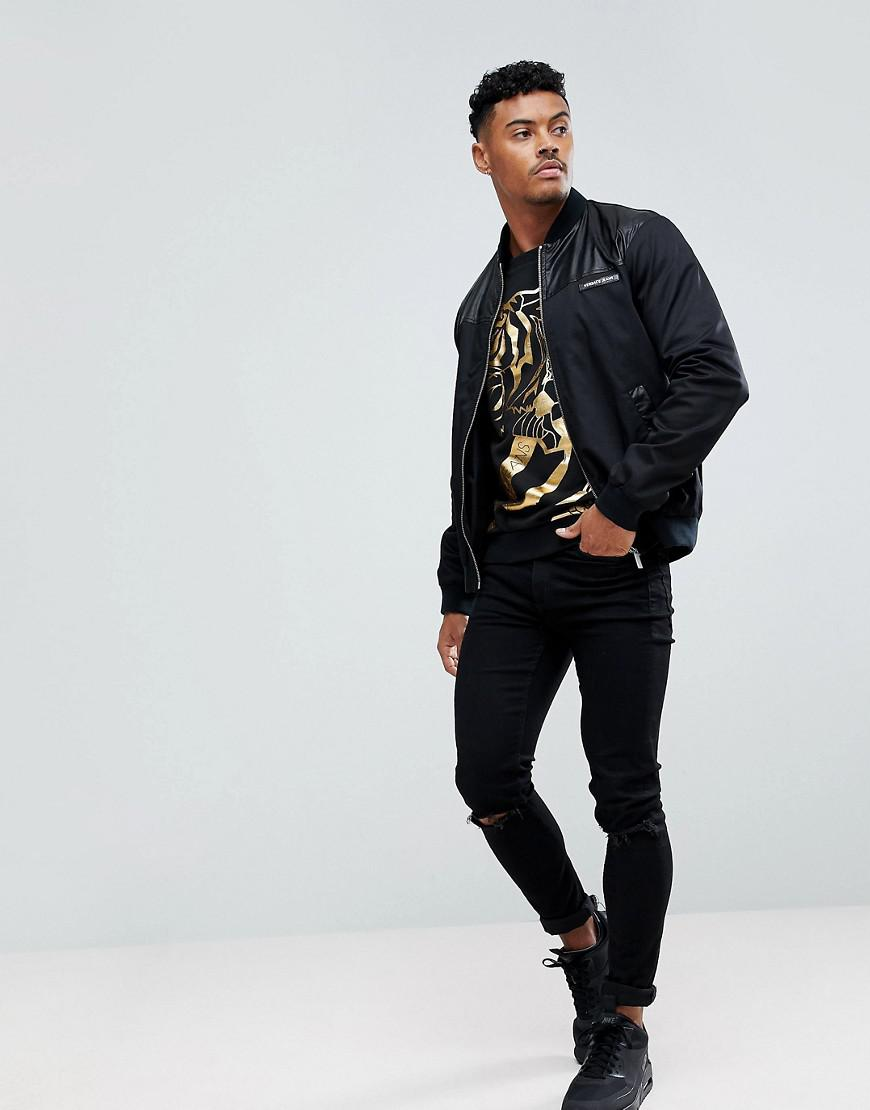 Versace Jeans Couture Denim Sweatshirt In Black With Gold Foil Tiger Print for Men