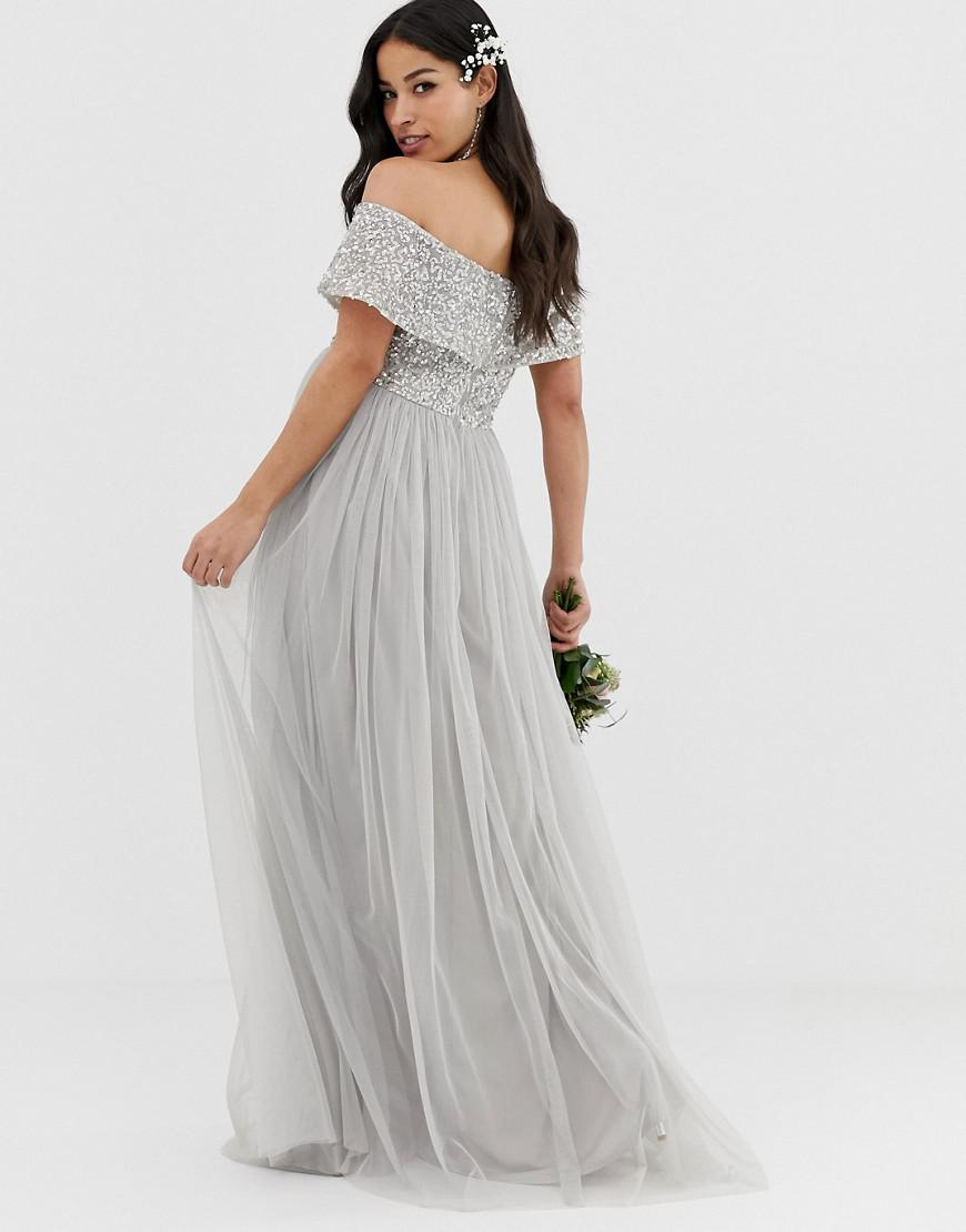 a2d44d7d72156 Lyst - Maya Maternity Bridesmaid Bardot Maxi Tulle Dress With Tonal  Delicate Sequins In Soft Grey in Gray