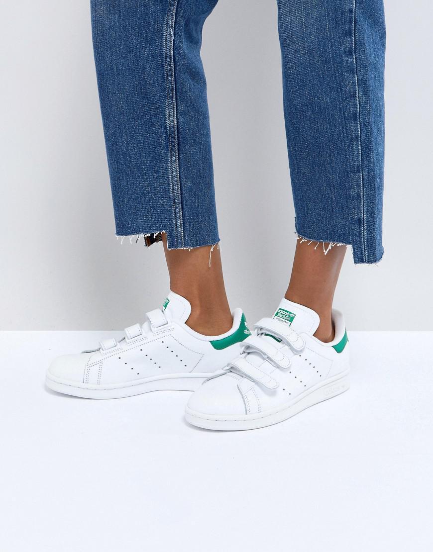 adidas Originals Originals White And Green Velcro Stan Smith ...