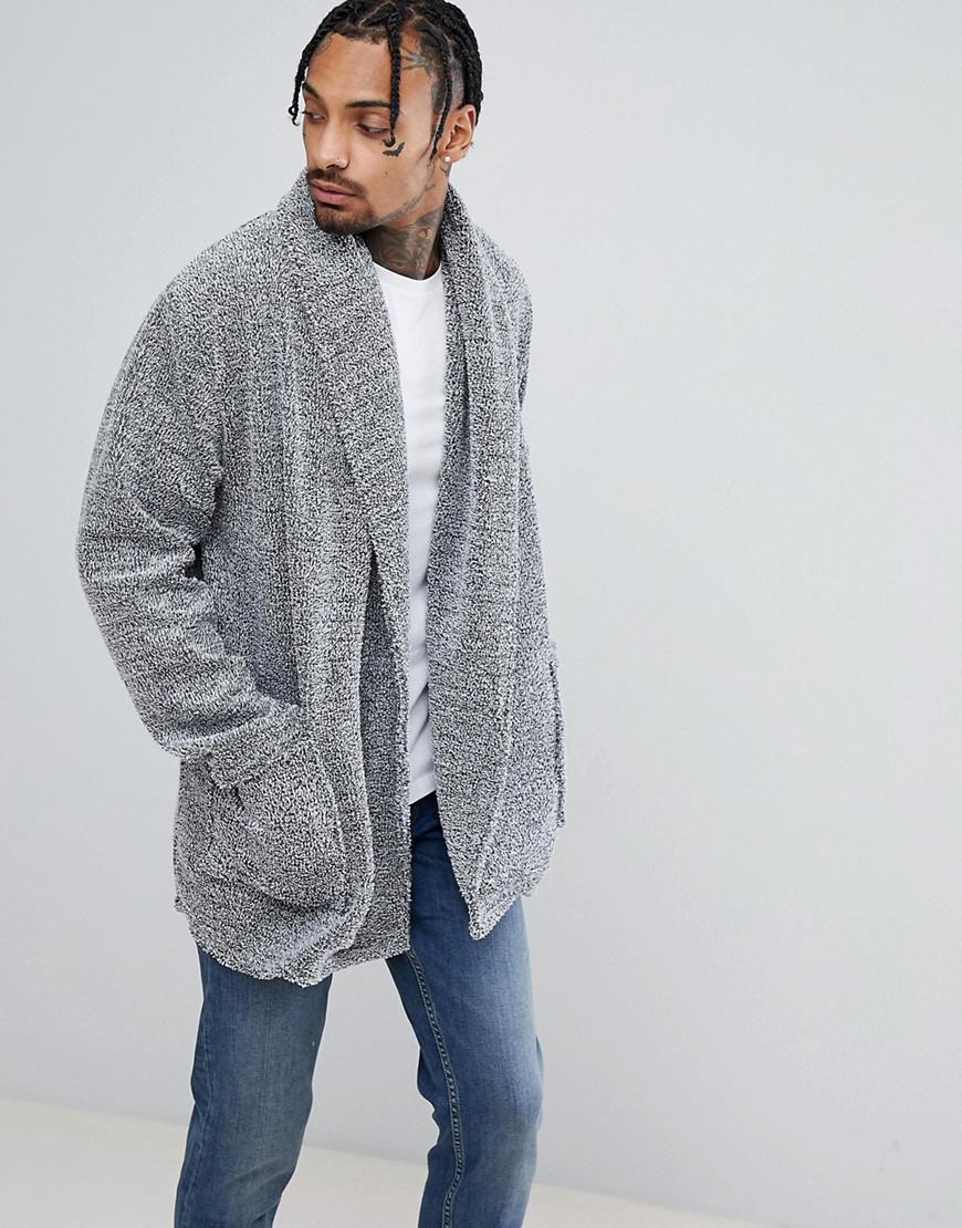 Asos Longline Cardigan In Fleece With Long Sleeves in Gray for Men ...