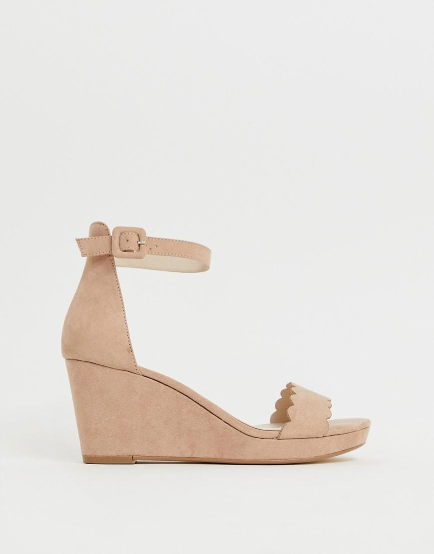 ef027886d6d9 Faith Dust Light Pink Scallop Heeled Wedges in Pink - Lyst