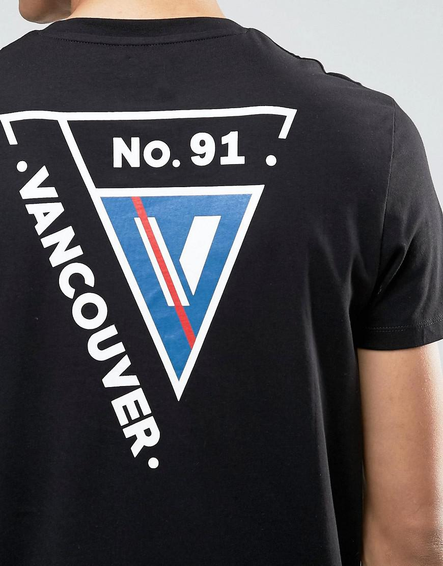Asos longline t shirt with vancouver back print in black for Vancouver t shirt printing