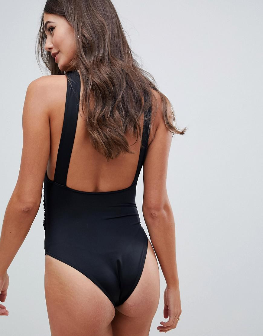 afefd4ff75b5b Lyst - ASOS Asos Design Tall Recycled Plunge Ruched Front Swimsuit in Black