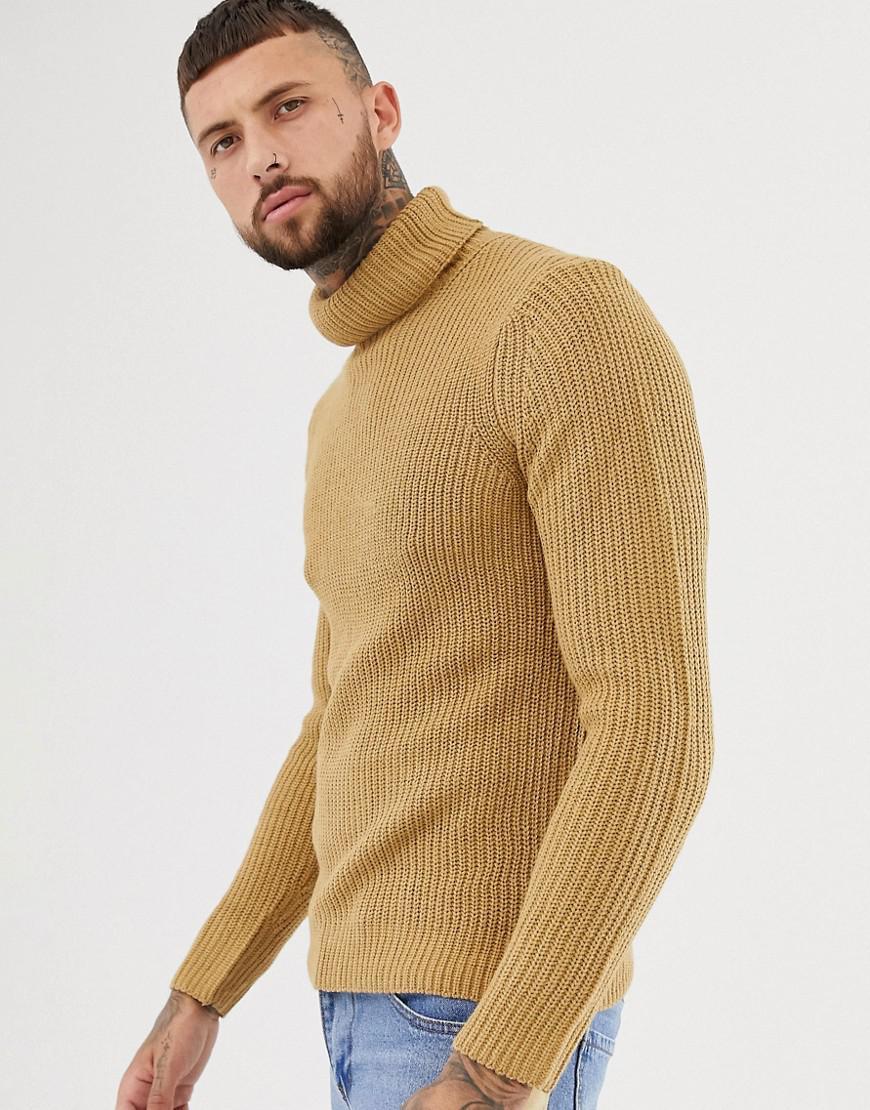 9570f734 Bershka Knitted Roll Neck Jumper In Camel for Men - Lyst