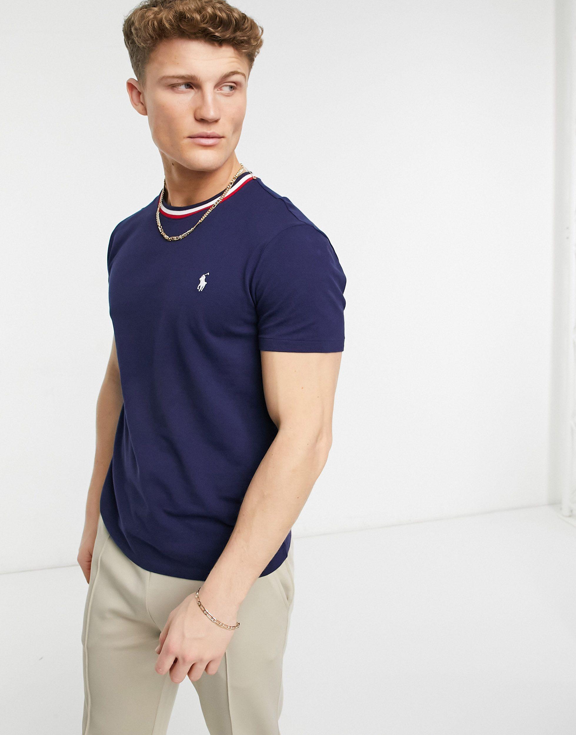 Pique Player Logo Stripe Tipping T-shirt