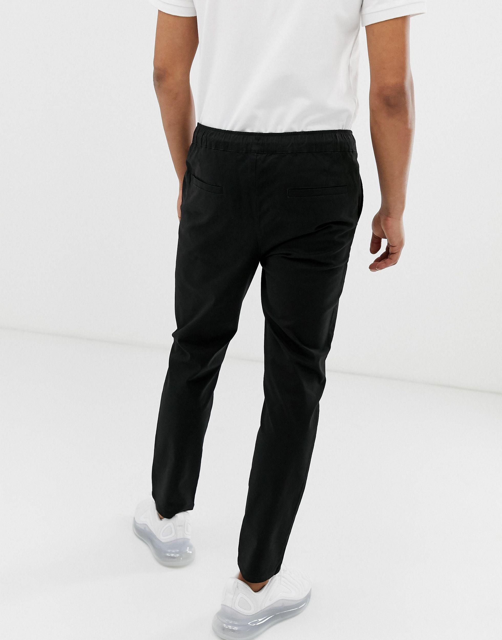 ASOS Denim Smalle Chino Met Elastische Taille in het Zwart voor heren