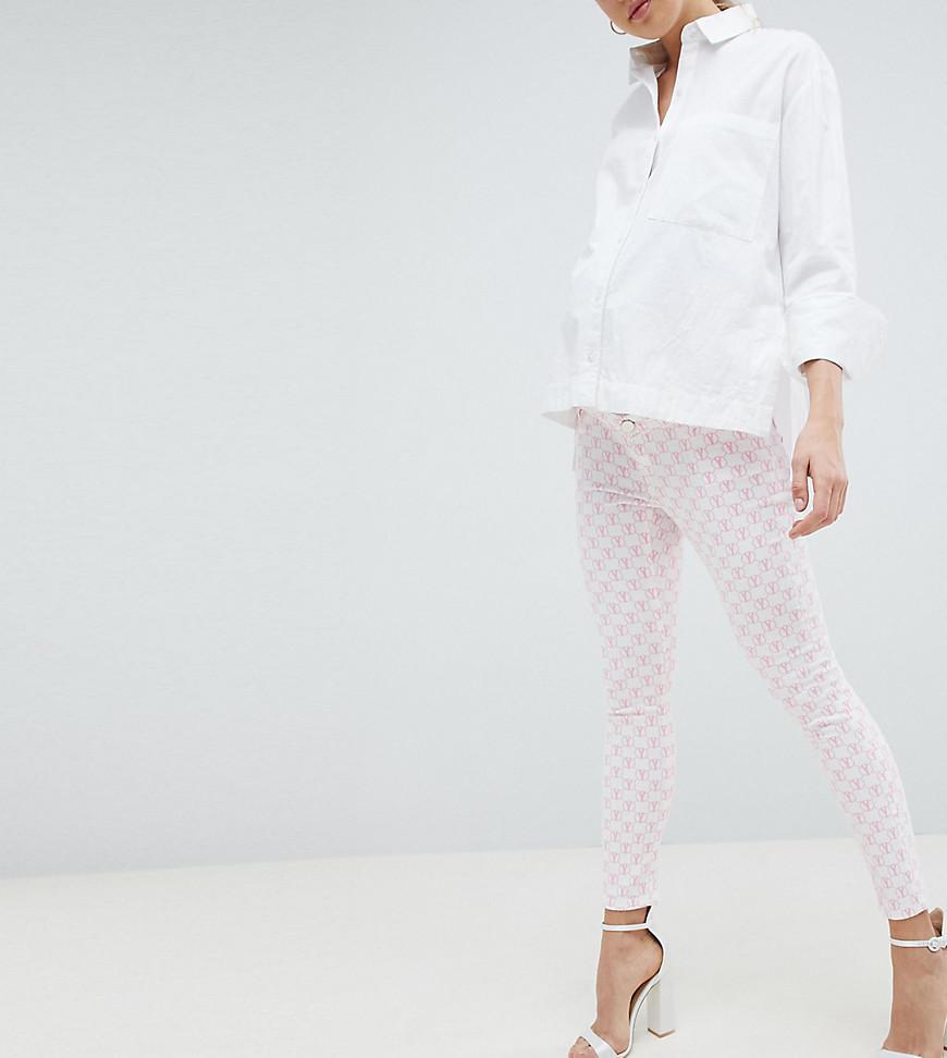 93d7de117db6 ... Asos Design Maternity Ridley High Waist Skinny Jeans In Pink Mono Print  -. View fullscreen