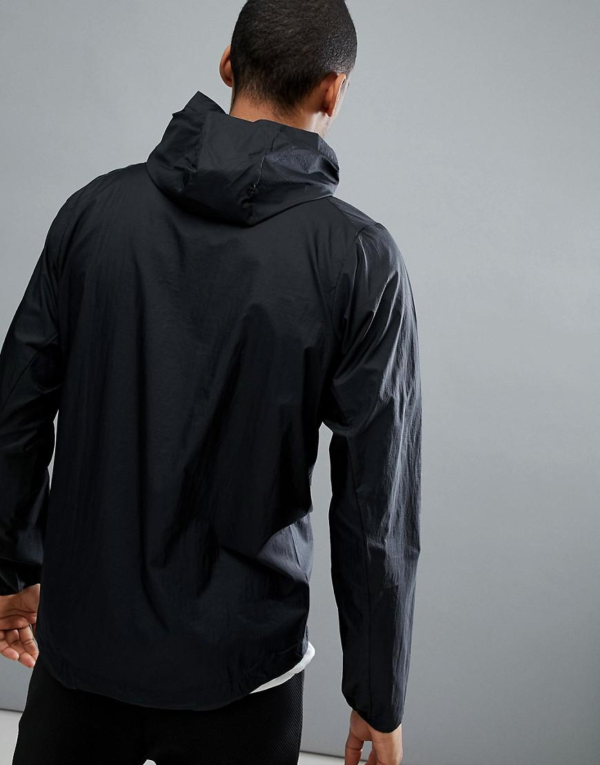 Patagonia Cotton Houdini Packable Hooded Running Jacket Slim Fit Lightweight In Black for Men