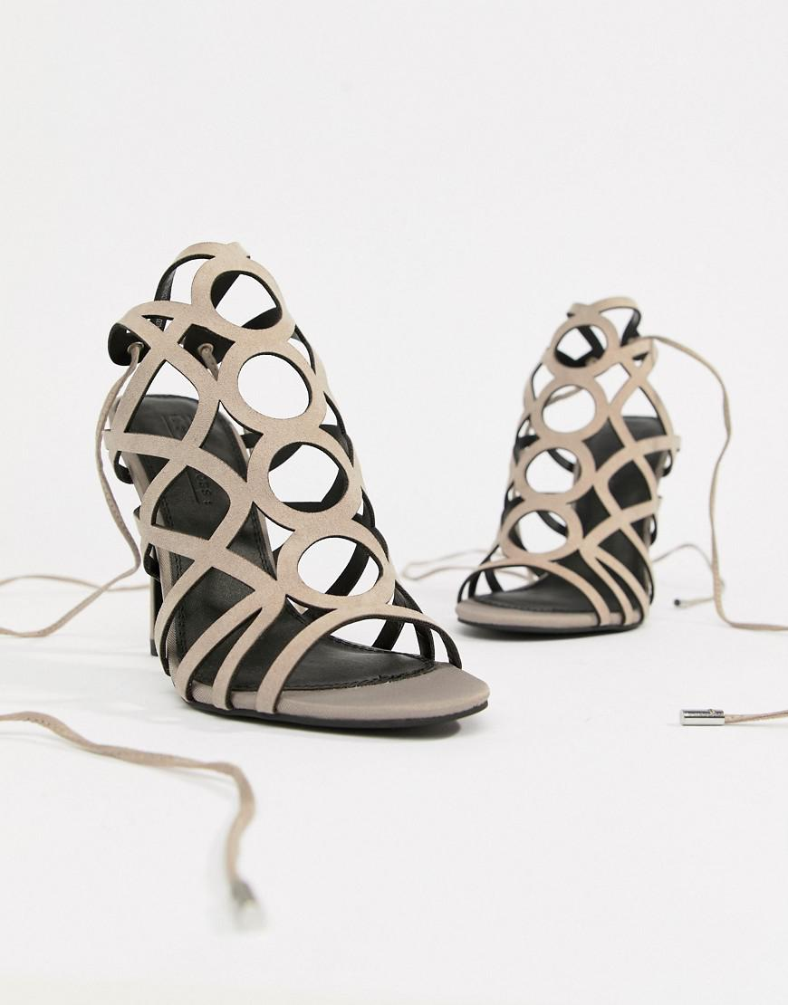2feeb3fa1f Lyst - ASOS Husk Caged Heeled Sandals in Gray