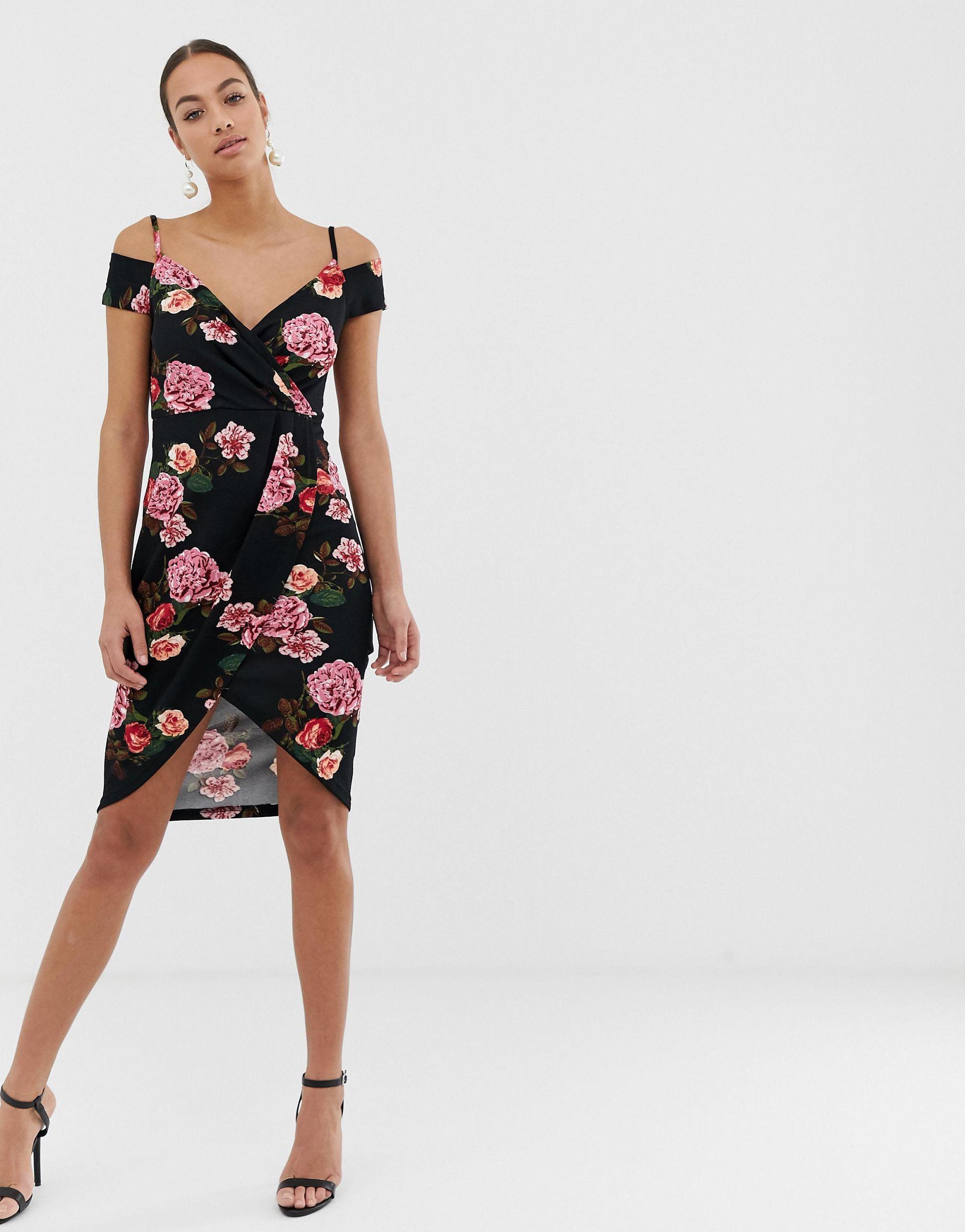 Vestido cruzado con diseño Bardot y estampado floral AX Paris de Tejido sintético de color Negro