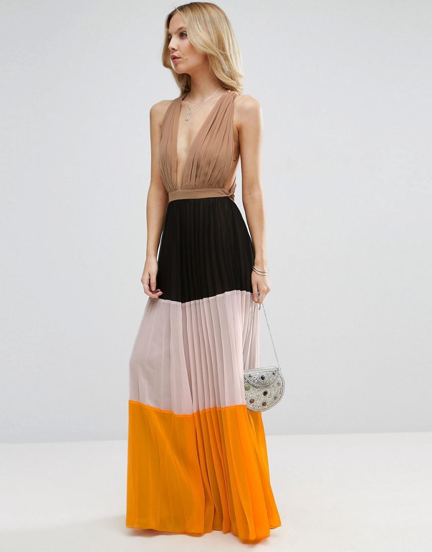 ASOS Synthetic Pleated Plunge Colourblock Maxi Dress