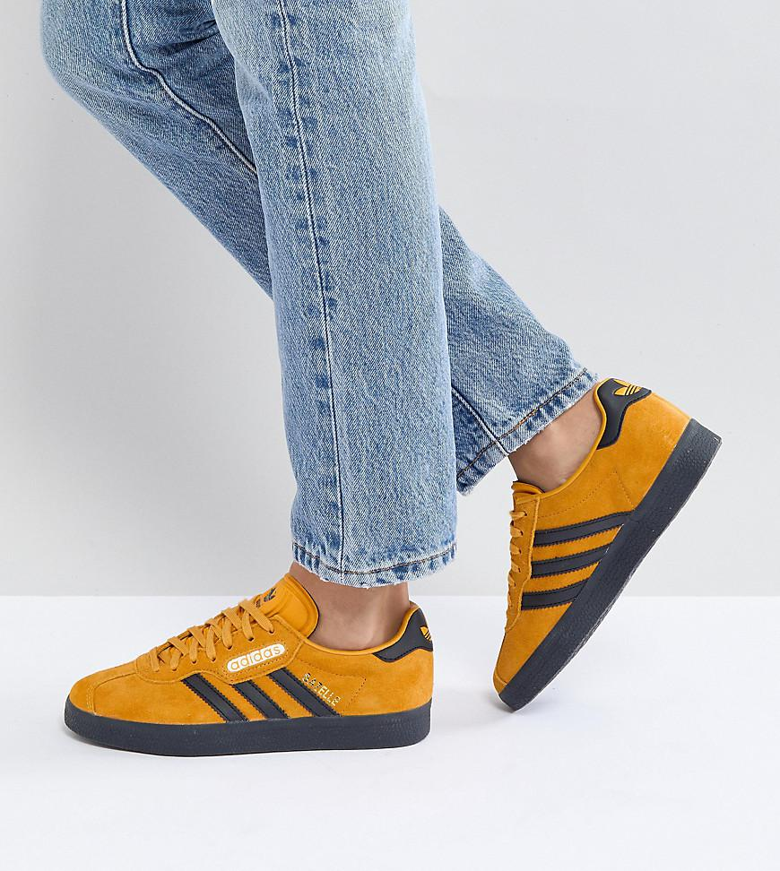 Gazelle Super Trainers In Yellow With Dark Gum - Yellow adidas Originals Clearance Shop For How Much For Sale Cheap Price Outlet Affordable JHmx2w