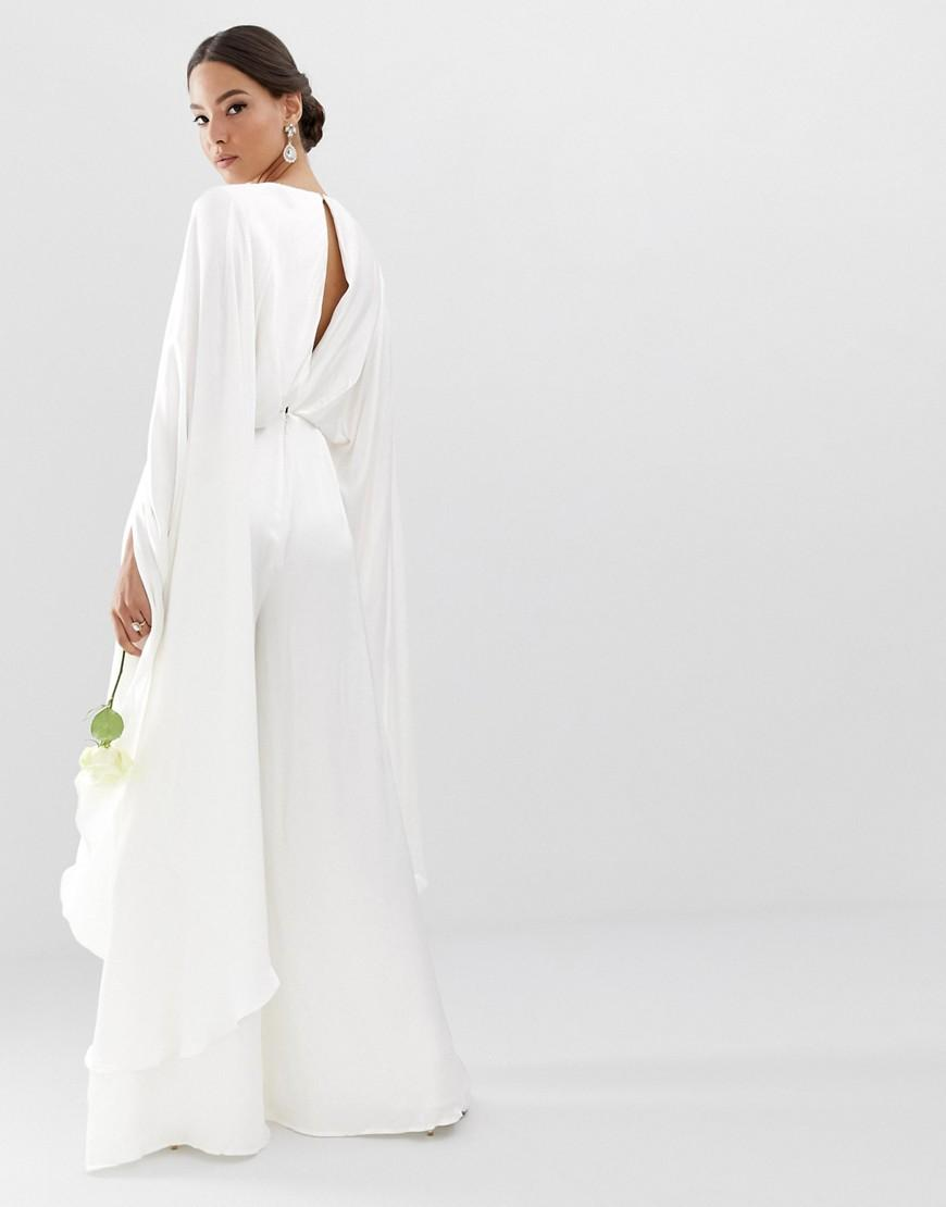 67c7f7bfafd Lyst - ASOS Cape Sleeve Wedding Jumpsuit In Satin in White