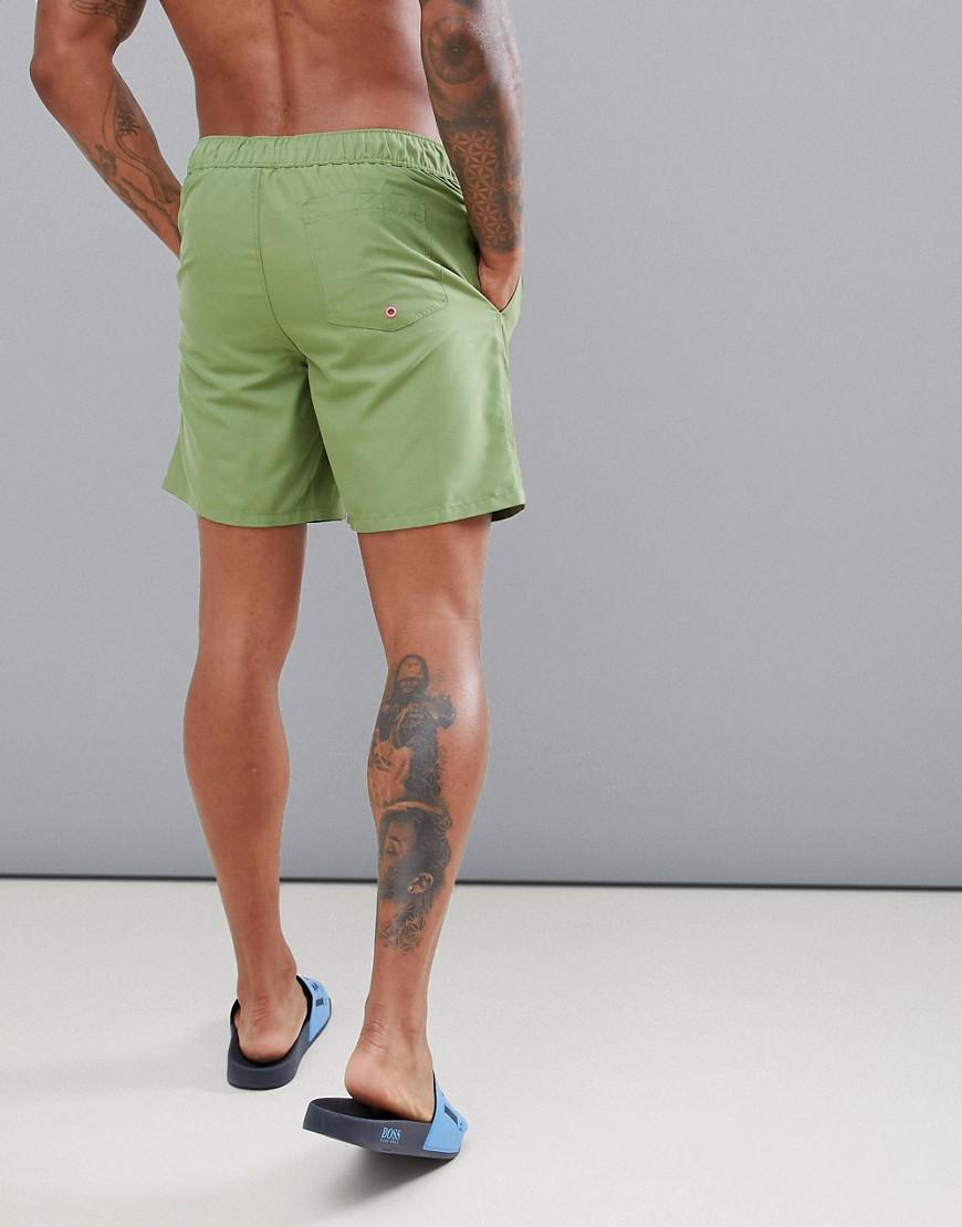 ed35038d7e77c9 ASOS Swim Shorts In Khaki With Neon Pink Drawcord Mid Length in Green for  Men - Lyst