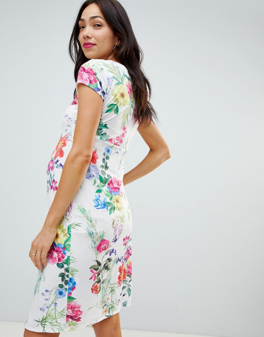 caa1b5d540fa9 Lyst - Bluebelle Maternity V Neck Floral Shift Dress