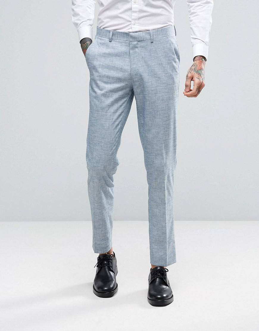 Asos Wedding Skinny Suit Pants In Crosshatch Nep in Blue for Men - Lyst