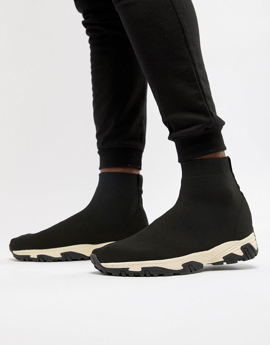 ASOS Sock Sneakers In Black With Chunky