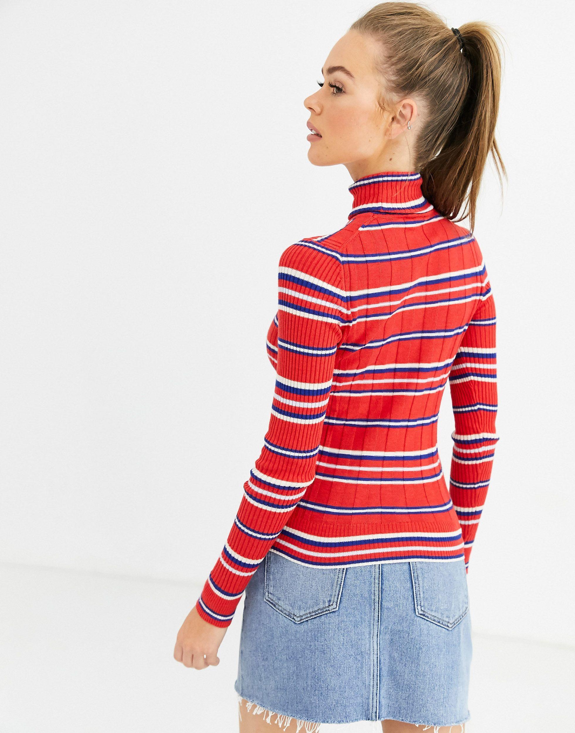 Jersey con cuello vuelto a rayas Flor Pepe Jeans de Denim de color Rojo
