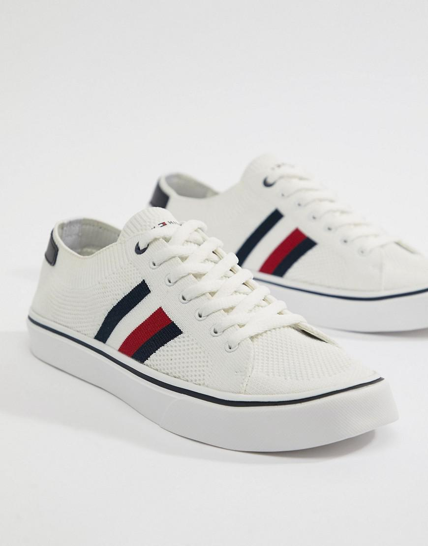 fe4399779 Lyst - Tommy Hilfiger Icon Stripe Knit Sneakers In White in White ...