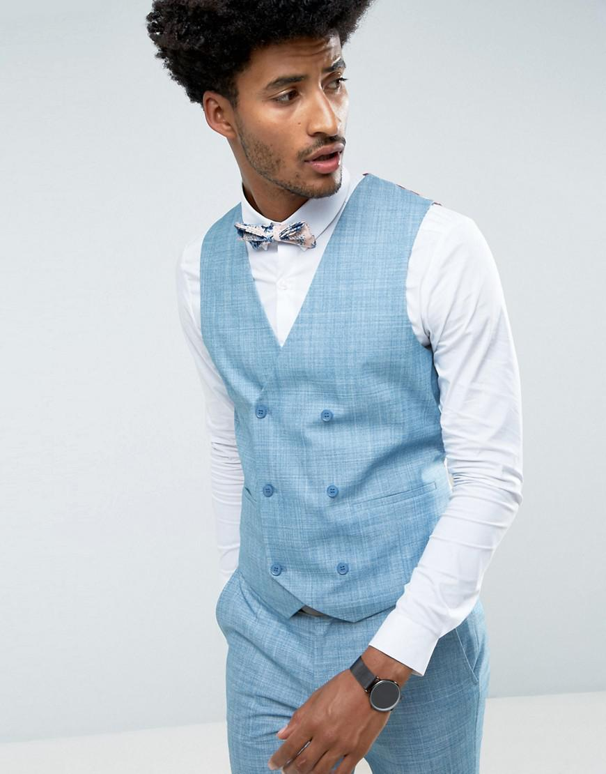 Lyst - Asos Wedding Skinny Suit Vest In Crosshatch Nep In Light Blue ...