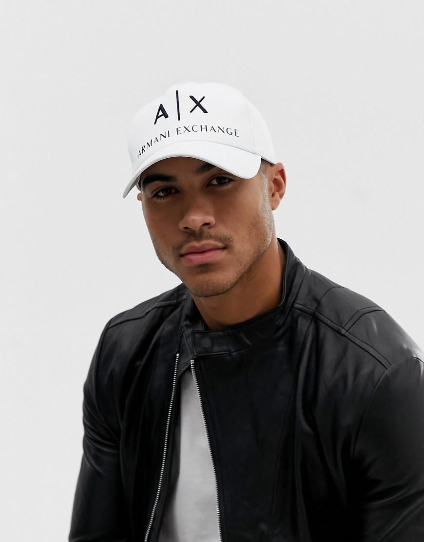 4bcf9c732be Lyst - Armani Exchange Canvas Large Logo Baseball Cap In White in ...