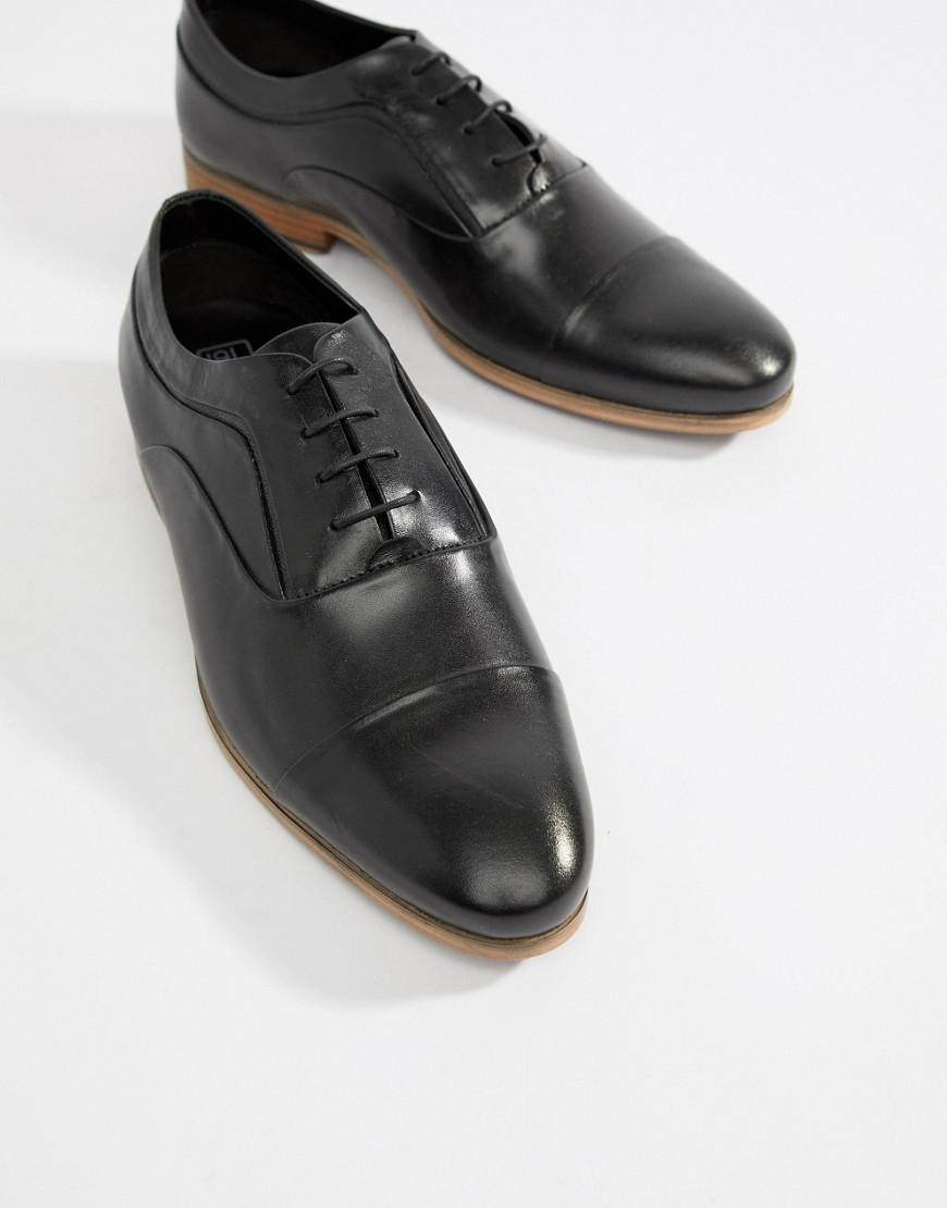 c93afd9454456 ASOS Wide Fit Lace Up Shoes In Black Leather With Natural Sole in Black for  Men - Lyst